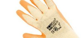 Worksafe Cotton/Polyester Shell, Textured Orange Latex Palm Dip Glove